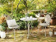 Beliani Stilvoller Gartentisch Metall grau rund