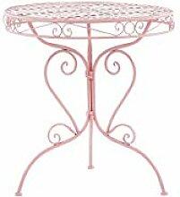 Beliani Stilvoller Gartentisch Metall rosa rund 70