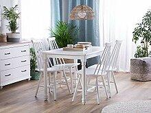 Beliani Stuhl Holz weiß 2er Set im Landhausstil