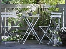 Beliani Tisch und 2 Gartenstühle, Stahl, Weiß