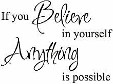 """Believe in Yourself Inspirierende Motivational Kid Zitat Schriftzug Decor Spruch Aufkleber Kunst Vinyl groß Wand Aufkleber Dekoration, Vinyl, schwarz, 14""""""""x19"""