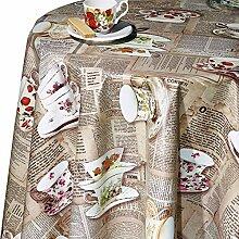 Belito Beige Wachstischdecke Tea Cups Beige