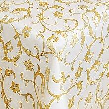 Belito Gold Blatt Damask Creme Wachstischdecke
