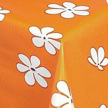 Belito Orange Wachstischdecke Gänseblümchen