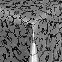 Belito Schwarz Blatt Damask Grau Wachstischdecke