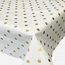 Belito Weiß Gold Wachstischdecke Punkte Gold