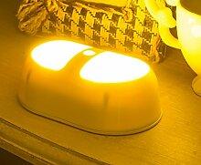 Bellabrunnen LED Nachtlichter mit Bewegungsmelder und Batteriebetriebene Drahtlose Nachtleuchte Nachtlampe, Oval [Energieklasse A+] ,(Gelb)