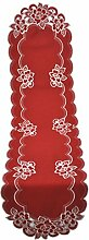 Bellanda 3258-40x160 oval Tischläufer, Polyester, Rot, 160 x 40 x 0.5 cm