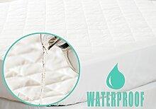 Belledorm Wasserfester Matratzenschoner antiallergen, SCHUTZ–Gesteppt, 100% Perkal-Baumwolle Oberfläche, baumwolle, Weiß, Einzelbe