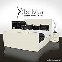 bellvita SONDERAKTION! Elektrisch verstellbares BOXSPRINGBETT mit ECHTLEDER-Bettrahmen und versenkbarem Flat-TV inkl. Lieferung und Aufbau durch Fachpersonal, 180cm x 200cm (ivory)