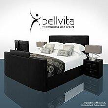 bellvita SONDERAKTION! Elektrisch verstellbares BOXSPRINGBETT mit ECHTLEDER-Bettrahmen und versenkbarem Flat-TV inkl. Lieferung und Aufbau durch Fachpersonal, 180cm x 200cm (schwarz)