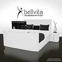 bellvita SONDERAKTION! Elektrisch verstellbares BOXSPRINGBETT mit ECHTLEDER-Bettrahmen und versenkbarem Flat-TV inkl. Lieferung und Aufbau durch Fachpersonal, 180cm x 200cm (weiß)