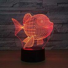 Belly Fish 3D Kleine Lampe Schlafzimmer Nachttisch
