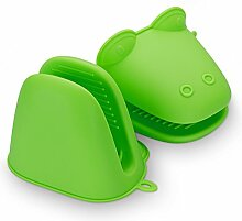 Belmalia 2x Silikon Ofen Topflappen, Silikon Topfhandschuh Ofenhandschuh Grillhandschuh Backhandschuh, hitzeresistent, Motiv: Frosch Grün