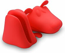 Belmalia 2x Silikon Ofen Topflappen, Silikon Topfhandschuh Ofenhandschuh Grillhandschuh Backhandschuh, hitzeresistent, Motiv: Hund Ro