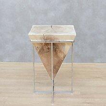 Belssia Beistelltisch aus Akazienholz und Chrom, L