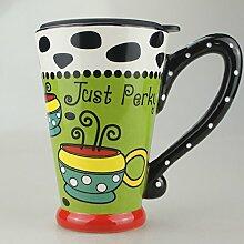 bemalte becher kaffee mit deckel paar großer glas kaffee mode - cup,lebendige