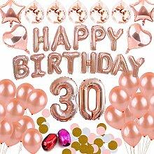 BEMEI 30th Geburtstagsdeko Mädchen Rosegold