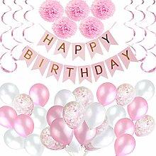 BEMEI Geburtstagsdeko Mädchen, Happy Birthday