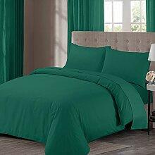 bemode Polyester/Baumwolle Bettwäsche Set für Doppelbett Blaugrün, Grün