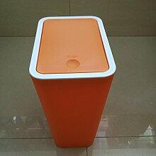 benbroo 8L Push Mülleimer Abfalleimer kann Trash Innen Mülltonnen Fashion Badezimmer Küche Wohnzimmer Schmutz Bucket Aufbewahrung Barrels Orange