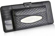 benbroo Auto Sonnenschutz Visier Auto Tissue Box Serviette Halterung Leder Auto Zubehör schwarz