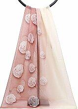 Bendwy Sommer neue Mode koreanische Schal Rose Blumenmuster Muster Seide Reise Sonnenschutz Schal (Color : Rosa)