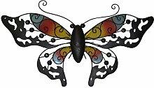 Benelando Wandbild Schmetterling aus Metall mit farbigen Applikationen