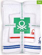 Benetton - 3tlg. Badtextilien-Set in Weiß