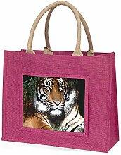 Bengal-Tiger im Sonnenschutz Große rosa Jute Einkaufstasche Weihnachtsgeschenk