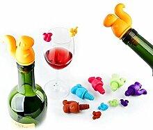 BENHAI 6 + 1 teile / satz Eichhörnchen Wein Stopper Set Weinglas Marker Tasse Recognizer Etiketten Silikon Flasche Stecker Zubehör (Mehrfarbig)
