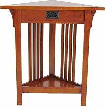 Benjara Mission Style Ecktisch aus Holz, mit 1