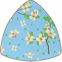 Bennigiry Blaues Blumenmuster Leder Untersetzer