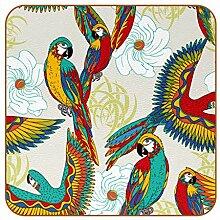 Bennigiry Bunte Papageien Vögel Leder Untersetzer