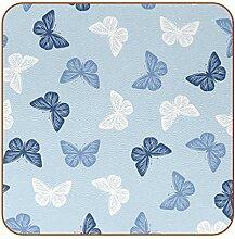 Bennigiry Bunte Schmetterlinge Leder Untersetzer