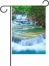 bennigiry Deep Forest Wasserfall Deko Welcome Colorful Mulitcolor Bright Cute Garden Flagge, Gesponnenes Polyester, multi, 12x18(in)
