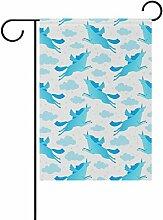 bennigiry Einhörner Polyester-blau-Garten Flagge,