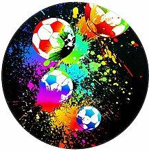 Bennigiry Fußball-Teppich, rund, modern,