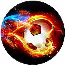 Bennigiry Fußball-Teppich, weich, rund, modern,