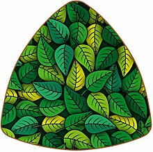 Bennigiry Grüne Blätter Muster Leder Untersetzer