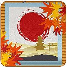 Bennigiry Japanische Malerei Ahornblatt Sonne