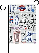 bennigiry London Polyester-Doodles-Garten Flagge,