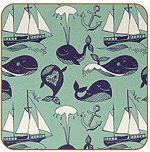 Bennigiry Lustige Wale Leder-Untersetzer