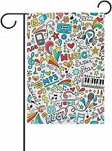 bennigiry Musik Polyester-Doodle-Garten Flagge,