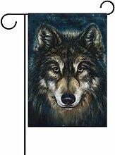 bennigiry Polyester-Wolf-Garten Flagge, wetterfest