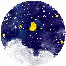 Bennigiry Teppich, Sternenmalerei, weich, rund,