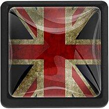 Bennigiry Türknauf mit UK-Flagge, quadratisch,