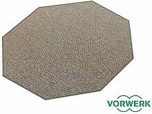 Benny braun Dänisches Flachgewebe HEVO® Teppich | Kinderteppich | Spielteppich 200 cm Achteck