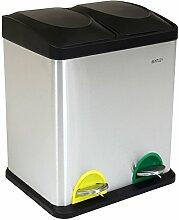 Bentley Home - Tret-Mülleimer für die Küche mit 2 Fächern - Edelstahl - 30 l