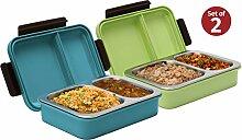 Bento-Box mit Clip-on-Deckel, auslaufsicher, 2